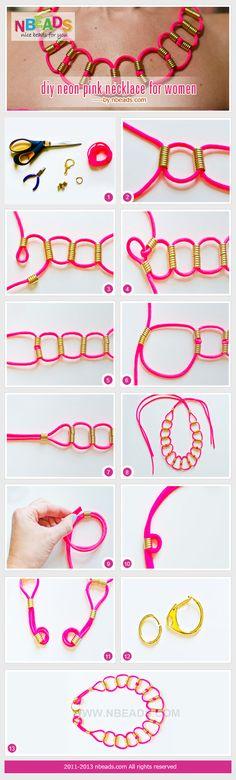 gargantilla con cola de ratón y abalorios - diy neon pink necklace for women #Jewelry #Diy #nbeads