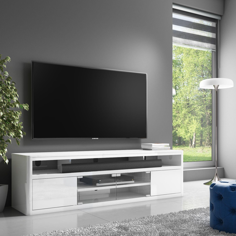 Neo White High Gloss Media Tv Unit Stand With Soundbar Shelf