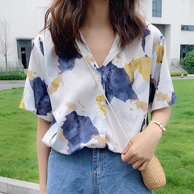 Watercolor Print Casual Loose Thin Shirt Tumblr Aesthetic Clothes Aesthetic Clothes Fashion