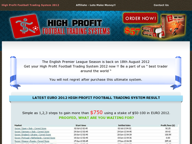 High Profit Football Systems 2012 Review  Get Full Review : http://scamereviews.typepad.com/blog/2013/03/high-profit-football-systems-2012-get-for-free.html