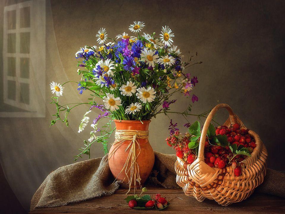 картинки натюрморты с полевыми цветами теме