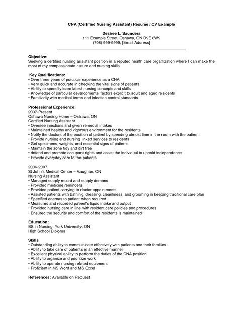 Cna Resume Sample With Experience Cna Resume Sample Pinterest - objective for certified nursing assistant resume