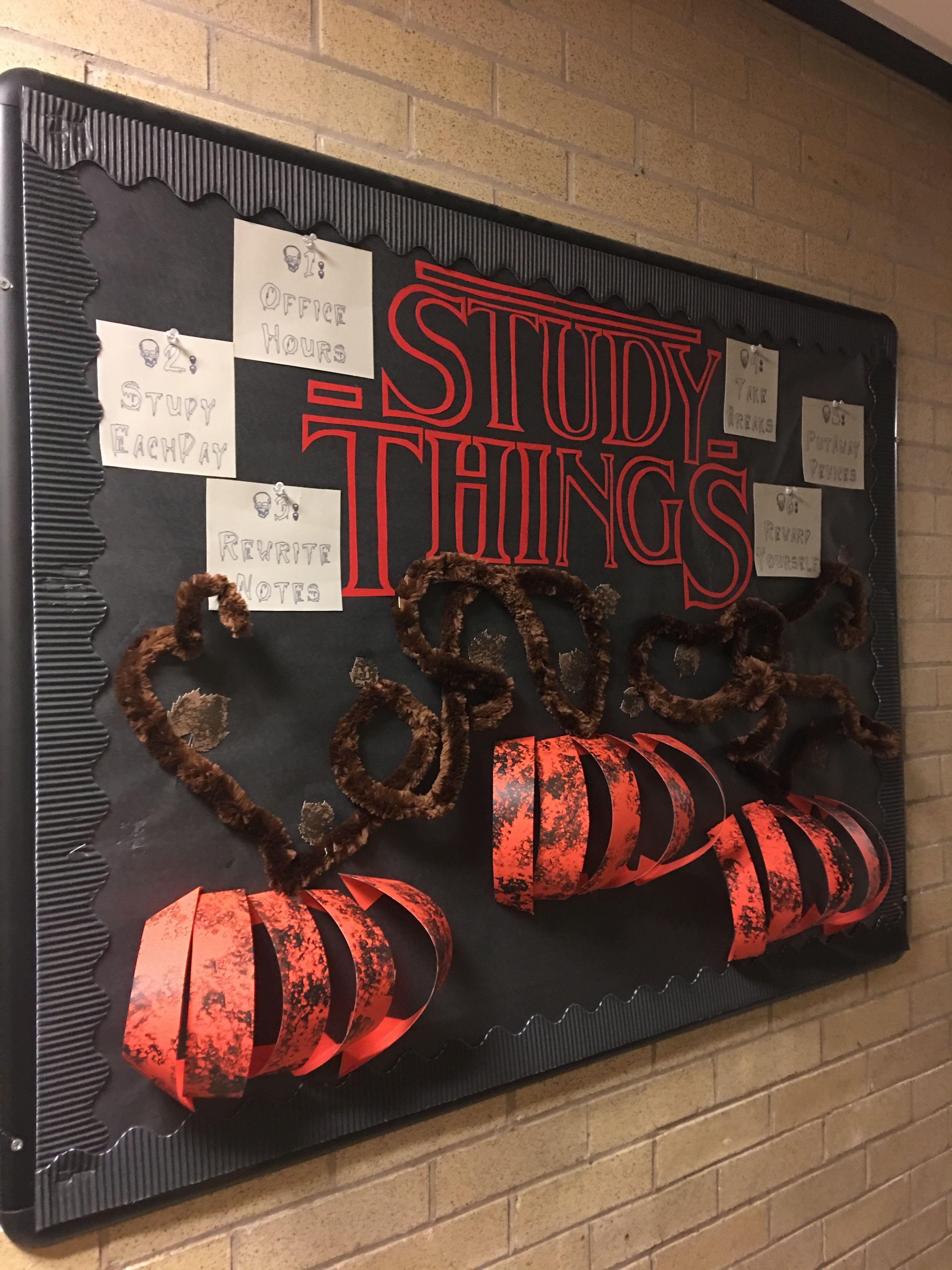 Resident Assistant bulletin board. RA halloween board— stranger things theme #rabulletinboards Resident Assistant bulletin board. RA halloween board— stranger things theme #rabulletinboards