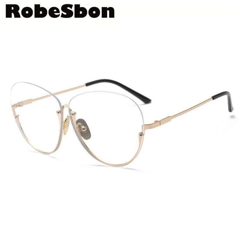 2017 New Brand Gold Clear Eyeglasses Frame for Women Semi-Rimless ...