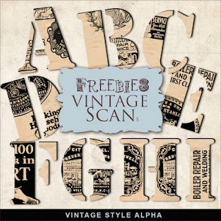 Freebies vintage scan, vintage style alpha, from Far Far Hill