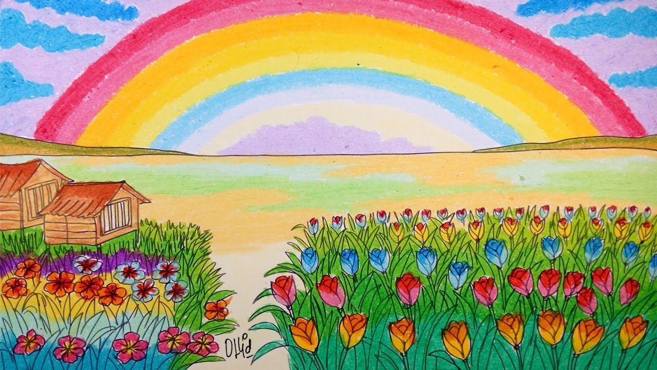 Menggambar Pelangi Di Tengah Kebun Bunga Dan Tulip Dengan Crayon Oil Pastel Pastel Kebun Bunga Bunga
