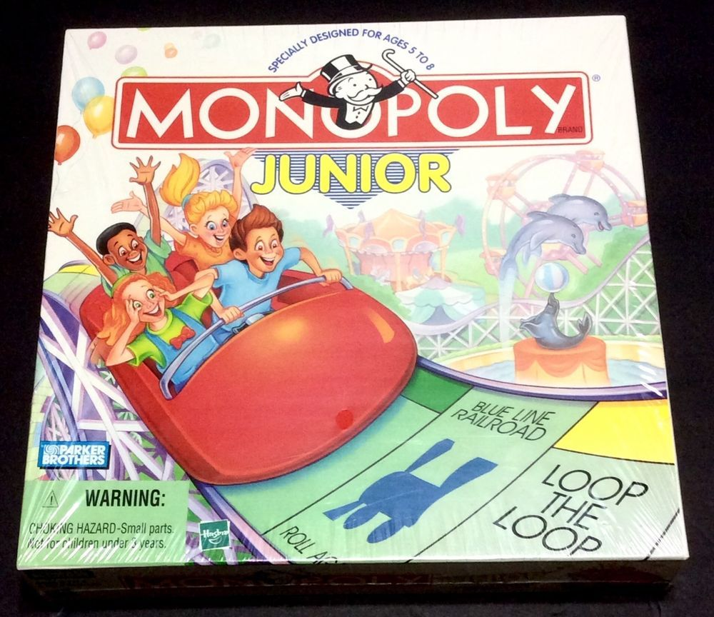 Monopoly junior game parker brothers new sealed 1999 hasbro jr boardwalk parkerbrothers