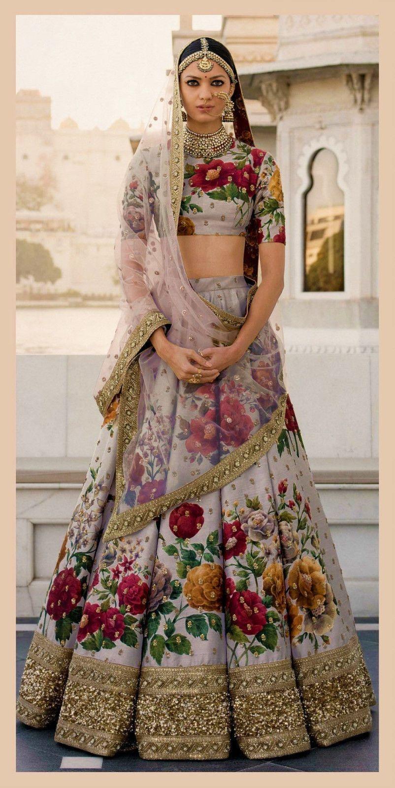 Floral Lehenga Chunri Silk Lengha Wedding Wear Designer Bollywood