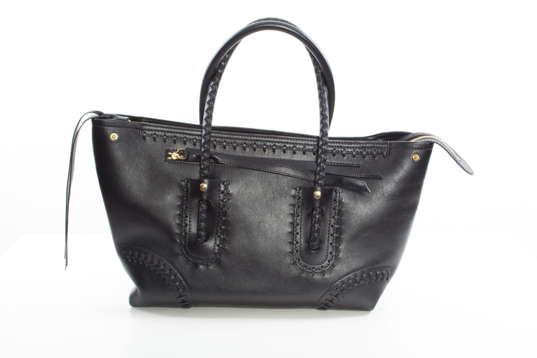 Black leather tote with whip stitch detail