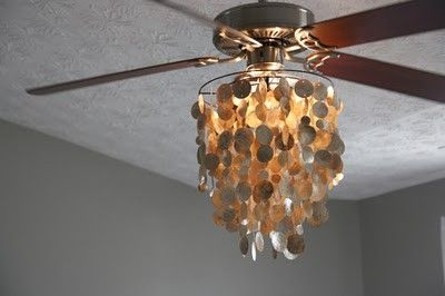 Capiz Lights From World Market Attached To A Home Depot Fan