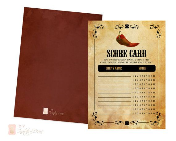 Chili Cook Off Score Card Printable Pdf Instant Download Etsy Chili Cook Off Cook Off Greeting Card Template