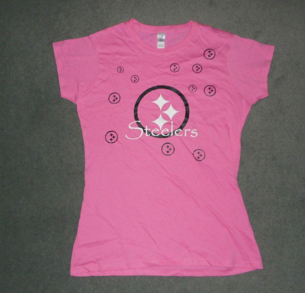 Women's Pink & Black PITTSBURGH STEELERS Short Sleeve NFL Shirt, Size M Slim Cut #GILDANSoftstyle #PittsburghSteelers