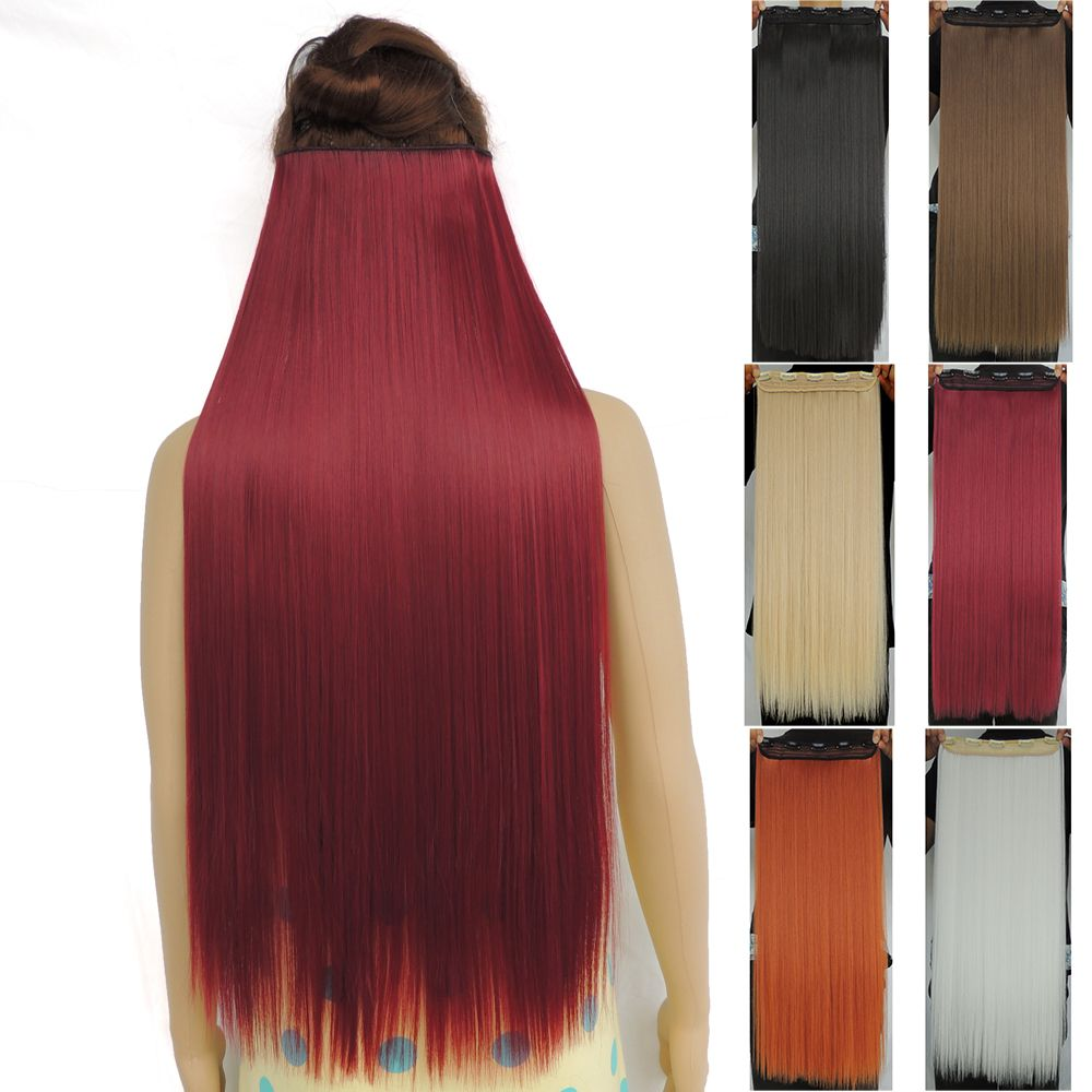 120g 28 Inch Long Clip In Hair Extensions Straight Hairpiece