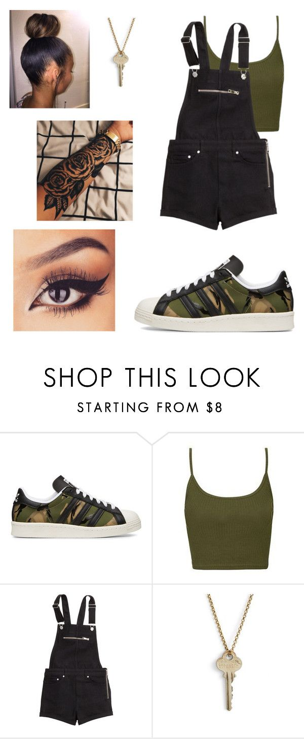 """""""Untitled #264"""" by ariondatrack ❤ liked on Polyvore featuring adidas Originals, Topshop, H&M and The Giving Keys"""