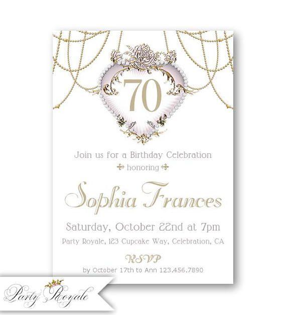 Printed or printable 70th birthday invitation for women birthday printed or printable 70th birthday invitation for women filmwisefo Images