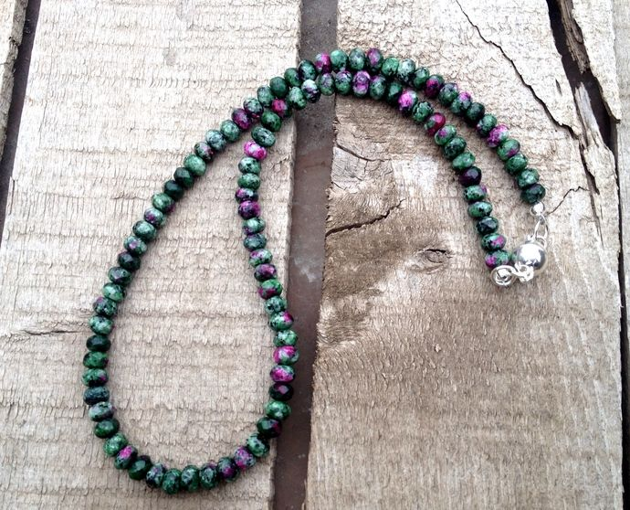 Faceted Ruby Zoisite Purple Green and Black Beaded Choker Necklace by GildedBug, $45.00 USD