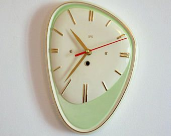 French 1950 60s Atomic Age Large Smi Green Wall Clock Big Oblong Funky Shape Ceramic Wall Clo Mid Century Clock Green Wall Clocks Mid Century Modern Decor