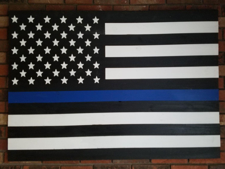 Police Wall Decor blue line flag, police flag, american flag, police lives matter