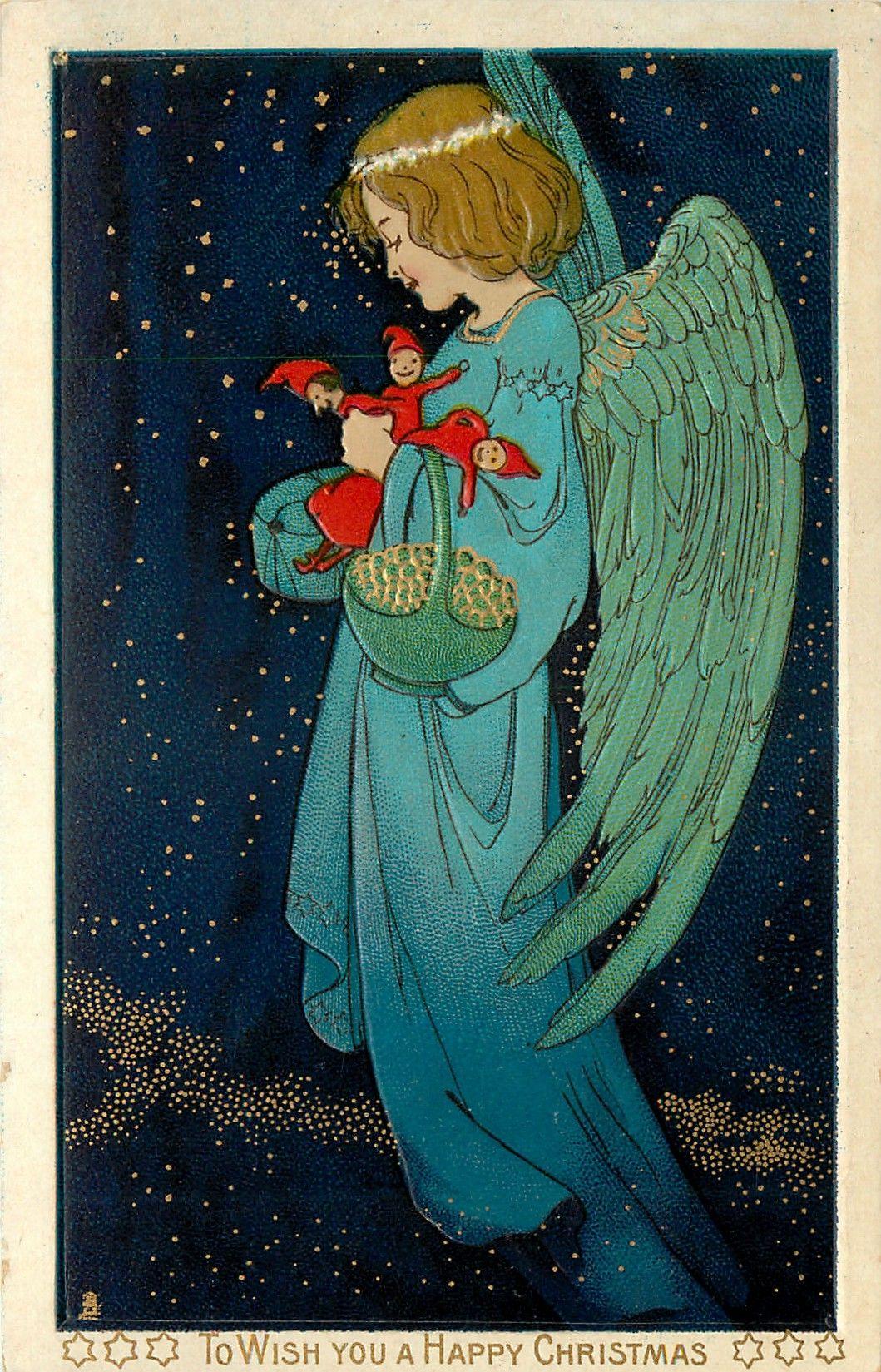 Зайцем, ангел открытка 19 века