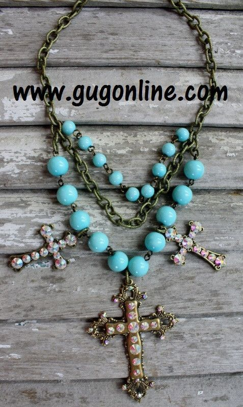 Aqua and Gold Cross Necklace