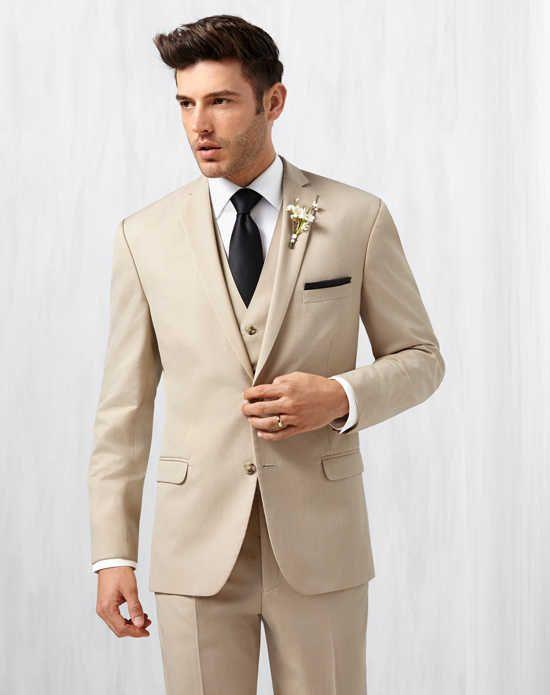 Men S Wearhouse Notch Lapel Tan Suit Wedding Tuxedos Photo