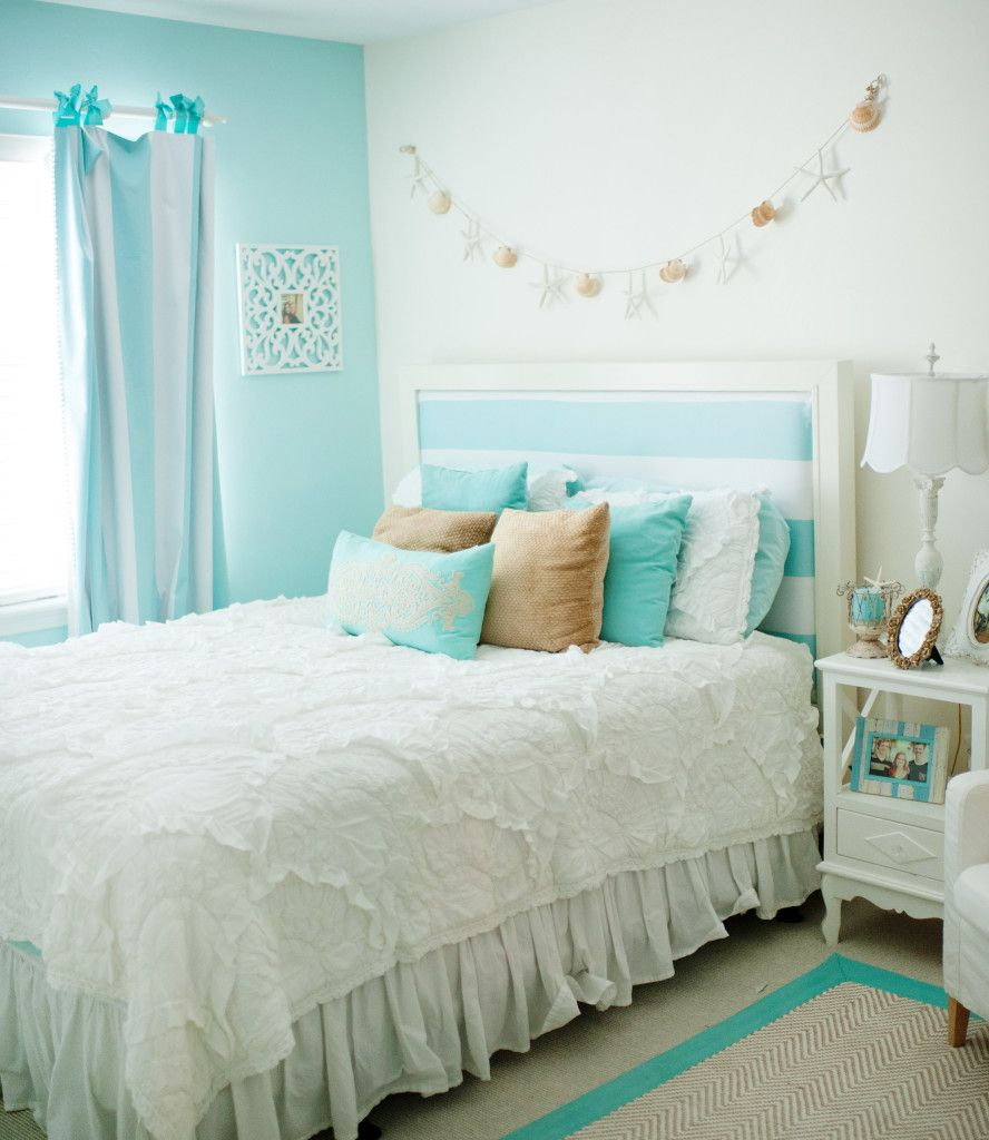 chic, beach-inspired girls room - love the tiffany blue and white