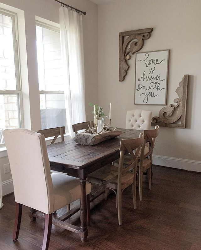 rustic dining room wall decor. Find this Pin and more on In the Dining Room by wallquotes  Love how these corbels have been repurposed at