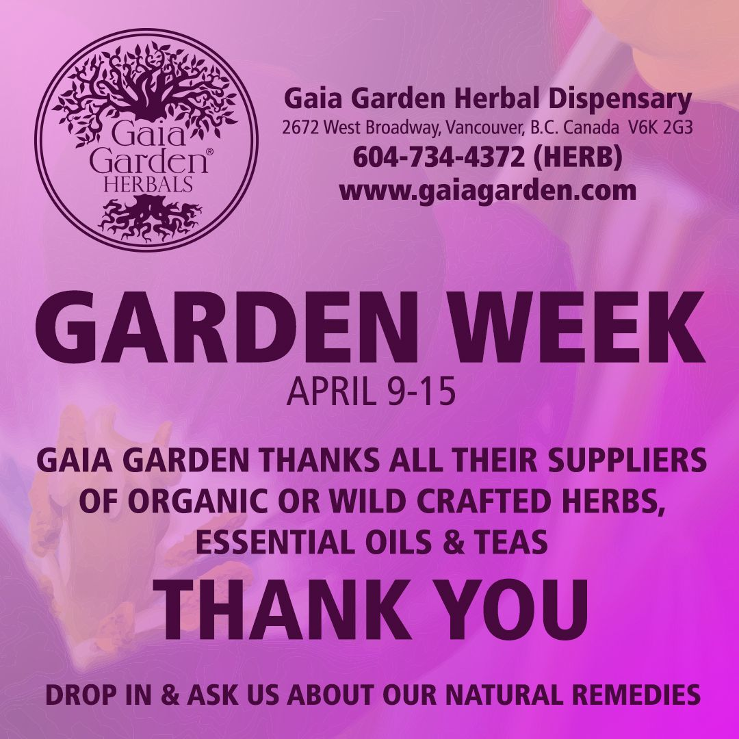 Gaia Garden thanks all their suppliers of organic or wild crafted