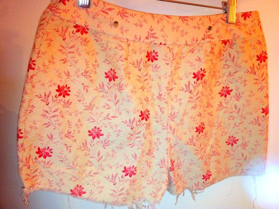 PINK Distressed Hem Shorts 100  cotton Pink by OCVintageArtCouture, $30.00