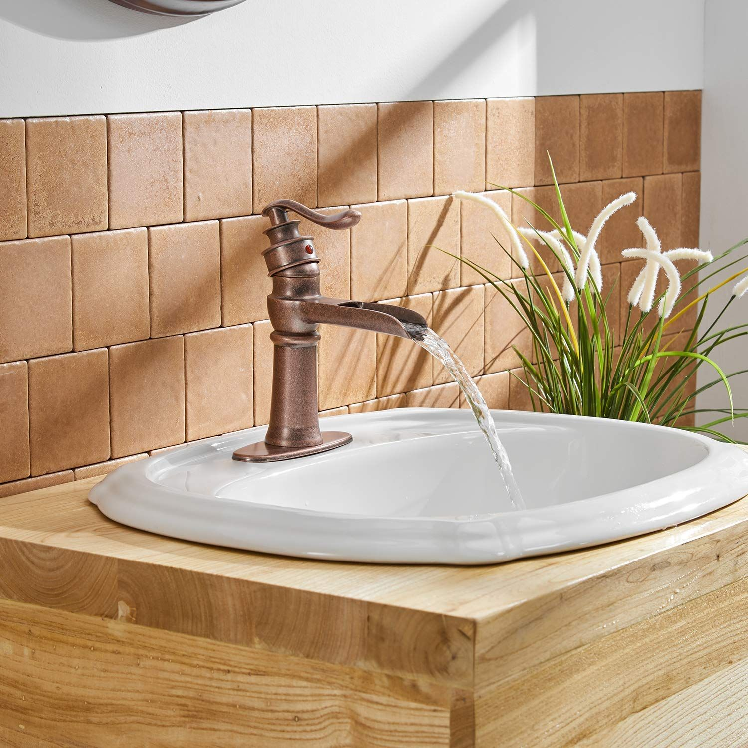 Commercial Waterfall Bathroom Faucet Single Handle Lever Hole Deck Mount Antique Copp Single Handle Bathroom Faucet Bathroom Faucets Waterfall Restroom Remodel