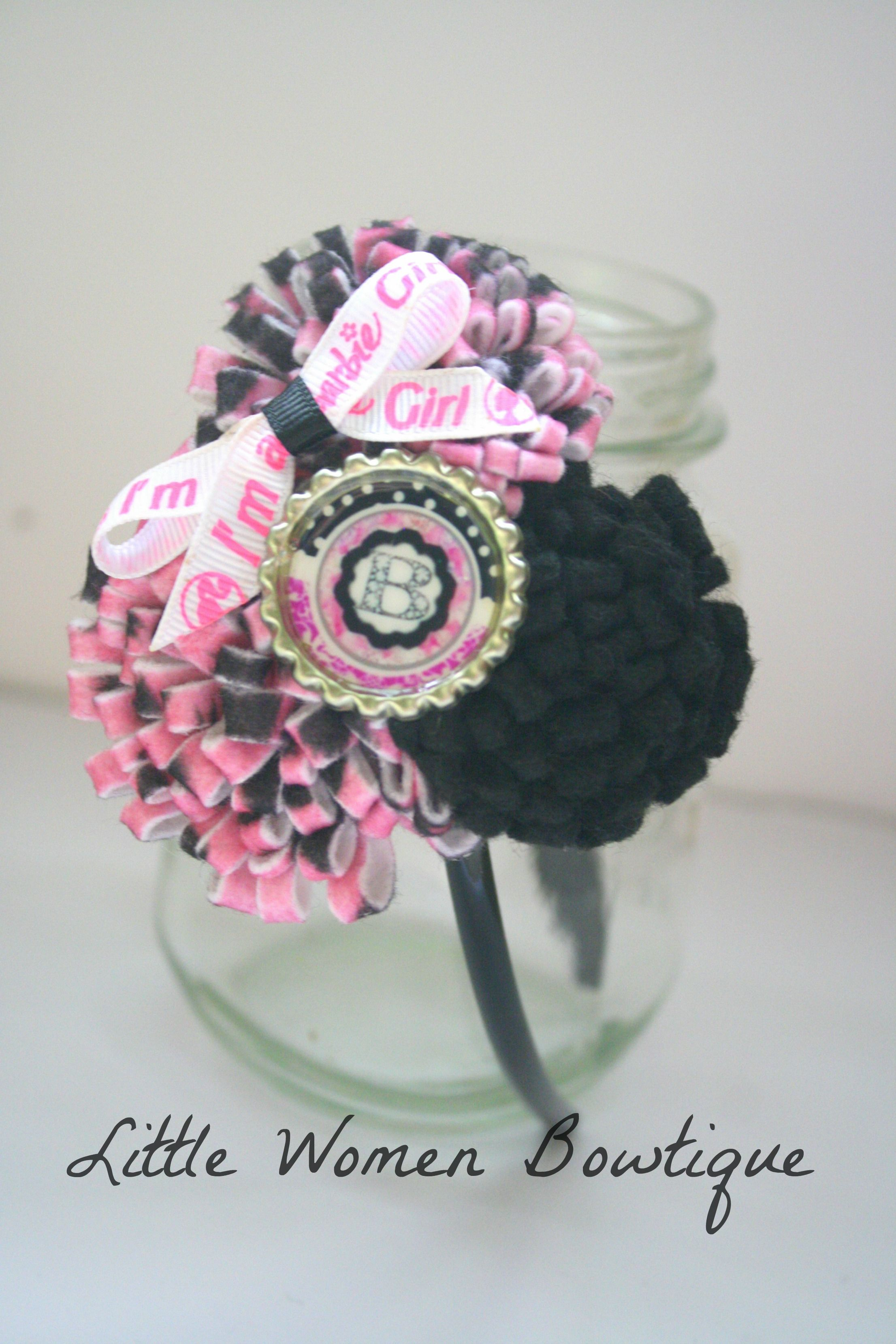 Barbie felt headband. $5 plus shipping. Be sure to check out my fb page. www.facebook.com/littlewomenbowtique