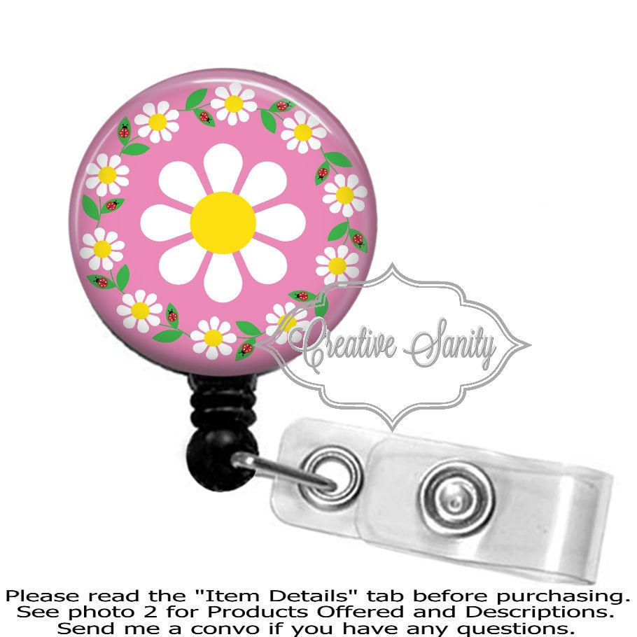 Retractable badge holder daisies everywhere daisy flower border retractable badge holder daisies everywhere daisy flower border choice of badge reel carabiner lanyard or stethoscope id tag sciox Choice Image