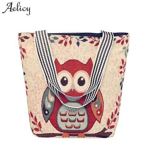 Aelicy 2018 New Design Women s Canvas Cartoon Handbag Large Capacity Animal  Prints Casual Tote Owl Crossbody ed4266b458d5a