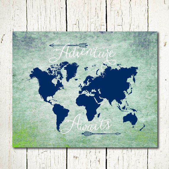 World map digital download adventure awaits printable travel quote world map digital download adventure awaits printable travel quote world map printable mint green navy blue textured world map wall art by gumiabroncs Image collections
