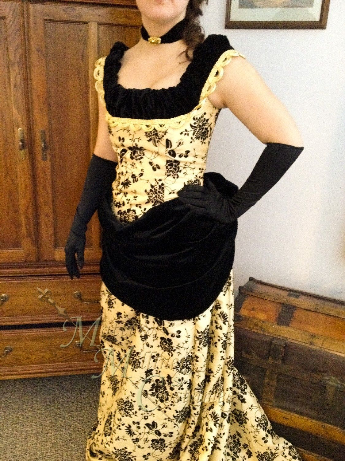 Victorian Bustle Dress 1880s Steampunk Opera Evening Ball gown with ...