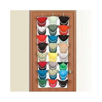 Attirant Over The Door Hat Organizer Clear Pockets Hanging Canvas Storage Cap Rack  Sox