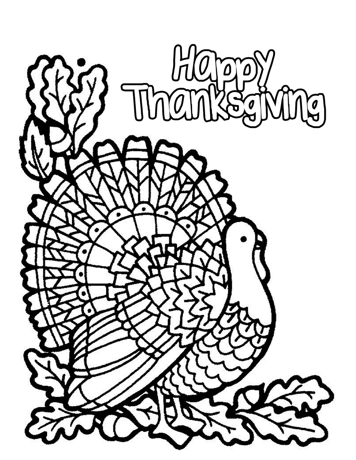 Turkey Happy Thanksgiving Coloring Pages Children | Thanksgiving ...