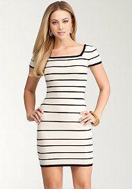 Cap Sleeve Stripe Dress