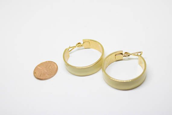 Vintage Monet Ivory And Gold Hoop Earrings Mom Earring