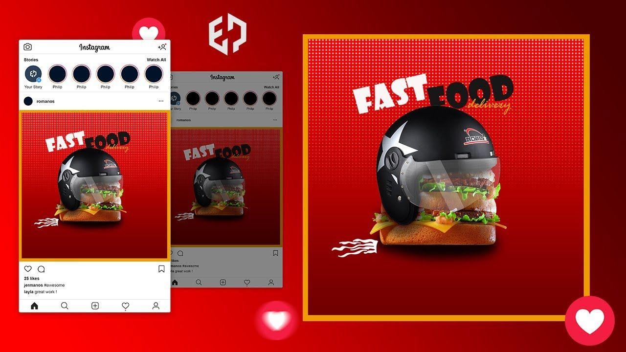 تصميم بوست سوشيال ميديا دمج باستخدام الفوتوشوب Youtube Youtube Videos Instagram Youtube