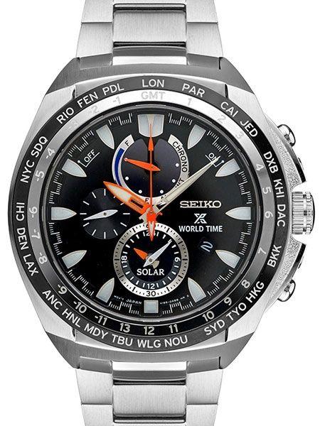 Seiko Solar Powered Chronograph Watch With World Time And Daily Alarm Ssc487 Seiko Men Luxury Watches For Men Seiko Solar