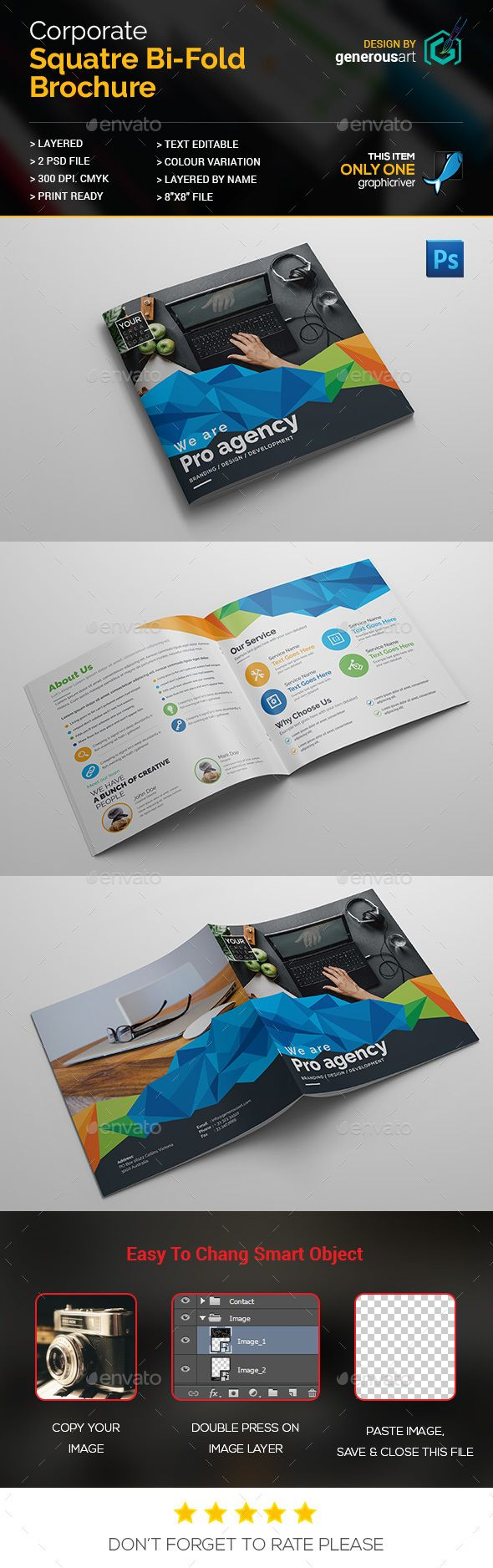 Awesome Square Bi-Fold PSD Template • Only available here ➝ http://graphicriver.net/item/square-bifold/15931448?ref=pxcr
