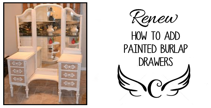 This classic vanity was restored with painted burlap drawers. Learn this quick and easy method to add shabby chic-ness to your furniture!