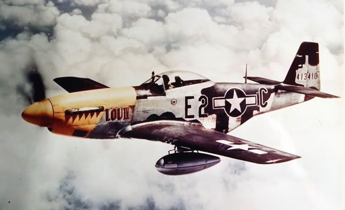 Lead: P-51D-5-NA 44-13410, E2*C, named Lou IV after the pilot's daughter. (U.S. Air Force)