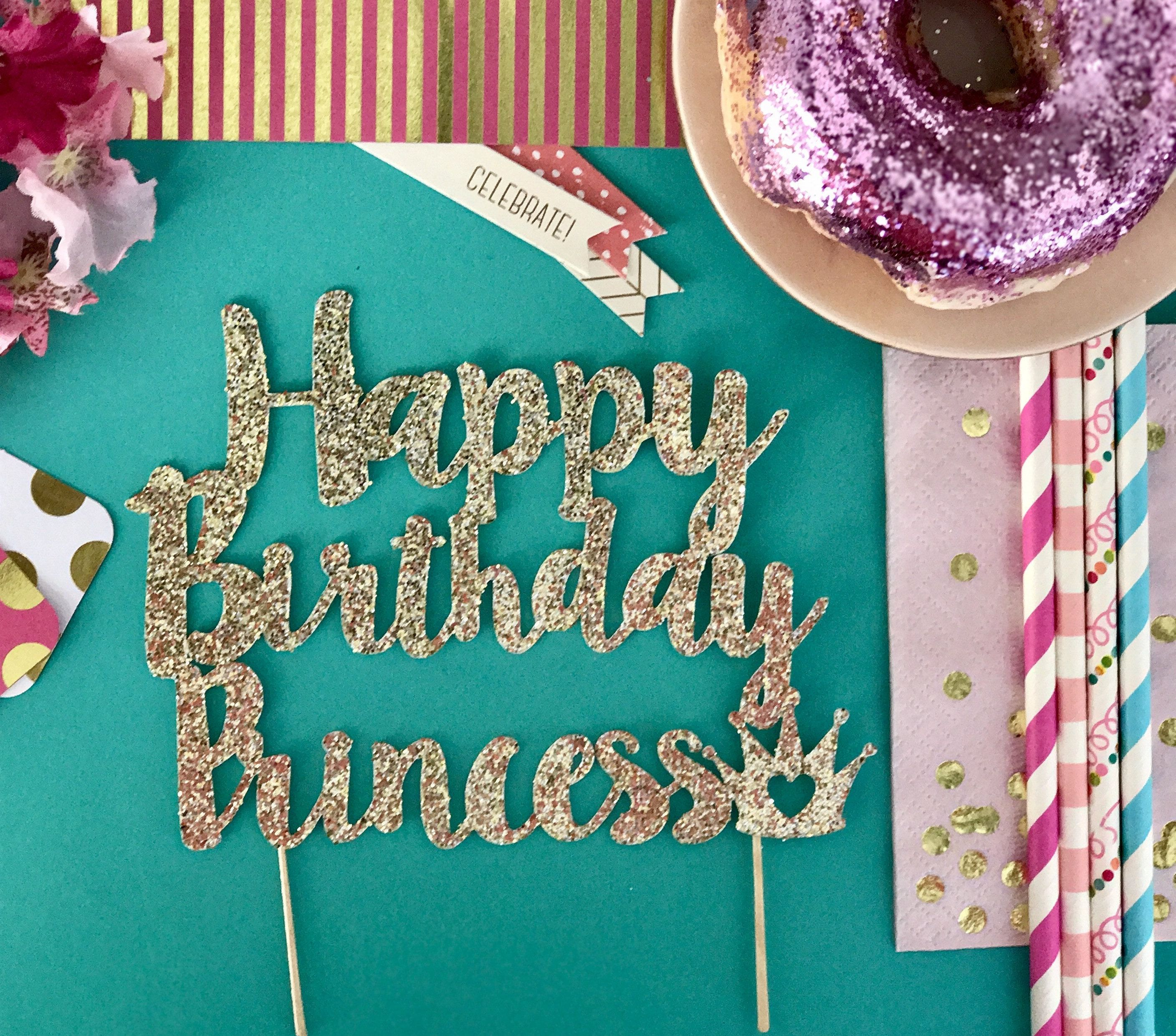 Happy Birthday Princess Cake Topper Glitter Party Decoration For