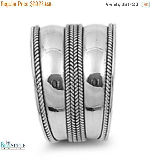 14mm Wide Bali Ring Solid 925 Sterling Silver Oxidized Antique Finish Simple Bali Design Twisted Rope Inlay Size 6 7 8 9 10 Bali Jewelry