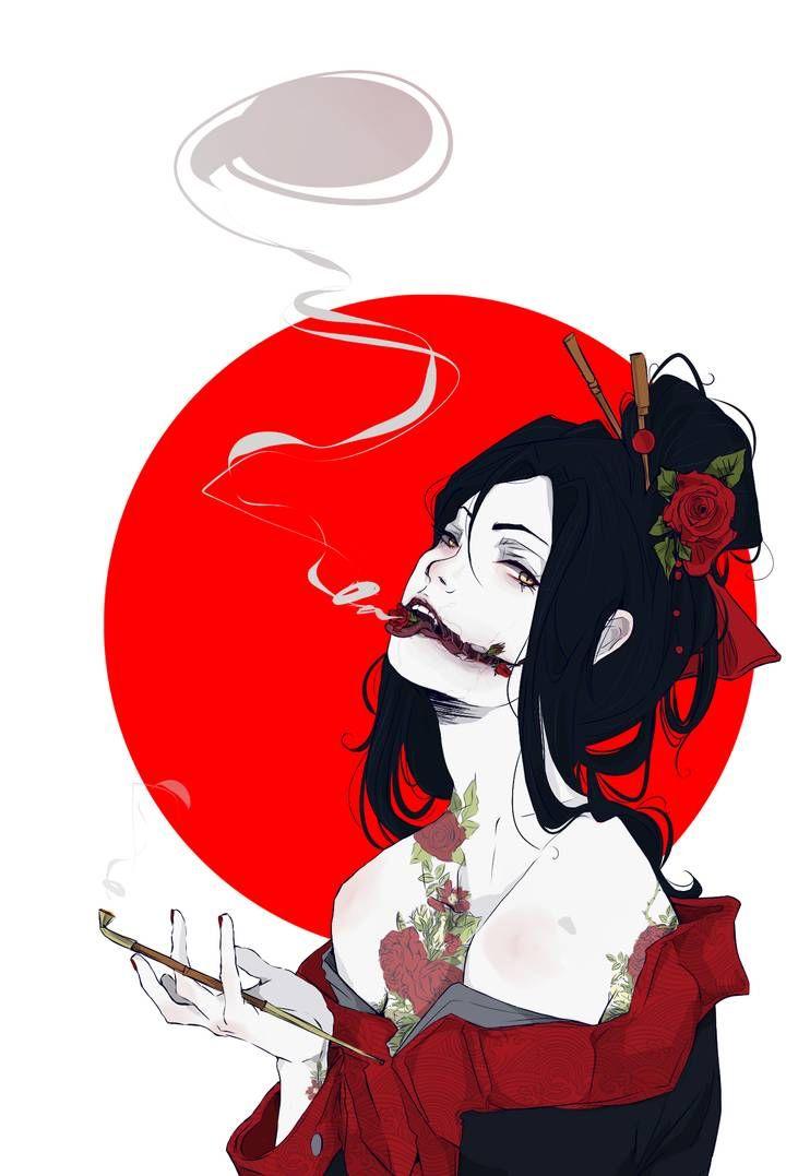 Kuchisake Onna Japanese Mythology Print By Wolf Fram Geisha Art Japanese Art Samurai Art