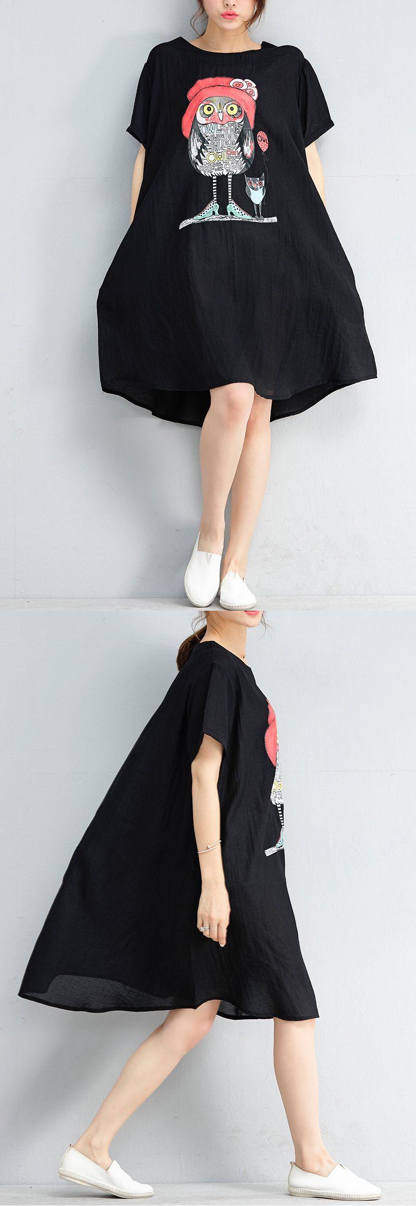 28d17887a1 2018 black chiffon shift shirt dress casual short sleeve Cartoon print dress