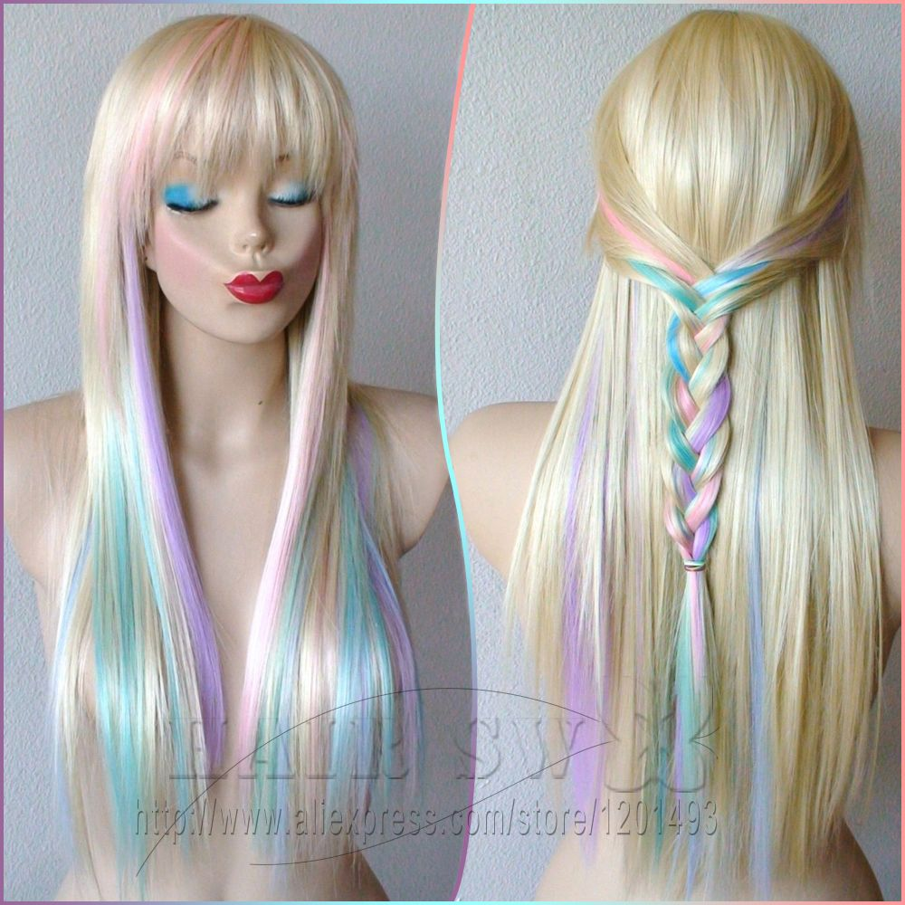 blonde/pastel color highlights rainbow wig. fairy princess wig