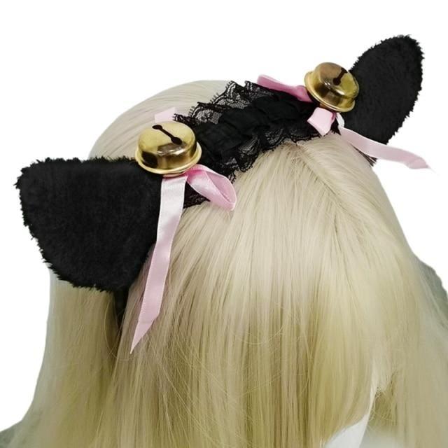 Photo of Women Girls Ruffles Lace Faux Silk Headband Cute Plush Cat Ears Ribbon Tassels Bell Decor Hair Hoop Lolita Anime Cosplay – C